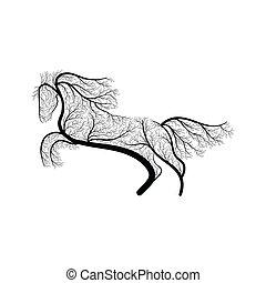 przestylizowany koń, skokowy, krzak