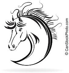 przestylizowany koń, wektor, rys, ikona