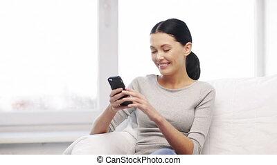 przesyłka, kobieta, tekst, komórka głoska, wiadomość