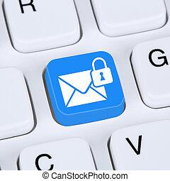 przesyłka, przez, komputer, spokojny, ochrona, encrypted,...