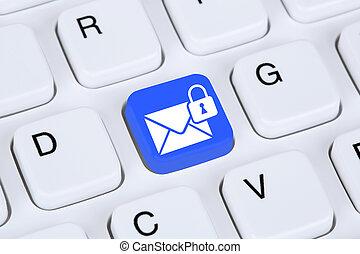 przesyłka, przez, spokojny, encrypted, e-poczta, ochrona,...