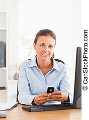 przesyłka, wiadomość, tekst, kobieta interesu