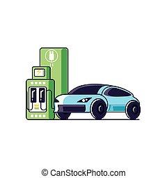 przewóz, elektryczny, służba, wóz, energia, stacja, sedan