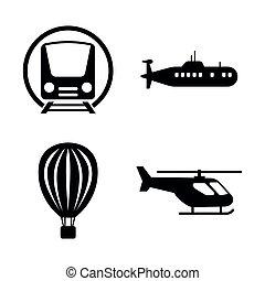 przewóz, ikony, prosty, powinowaty, wektor, transportation.