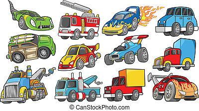 przewóz, pojazd, wektor, komplet