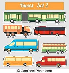 przewóz, publiczność, buses., ikona