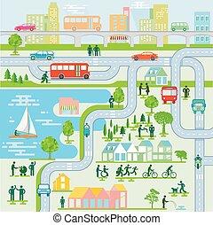 przewóz, publiczność, pedestrians, miasto