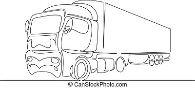 przewóz, rysunek, ilustracja, concept., pickup, wektor, wózek, kreska, prosty, ciągły