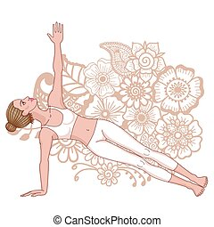 przewlekły, yoga, pose., bok, silhouette., vasisthasana., deska, kobiety