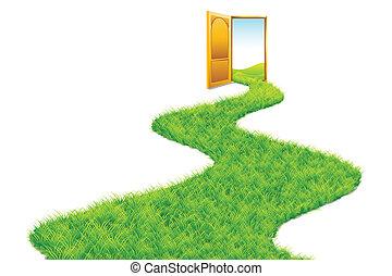 przewodniczy, trawa, zielony, droga, świat