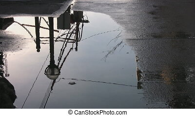 przez, pieszy, puddle.