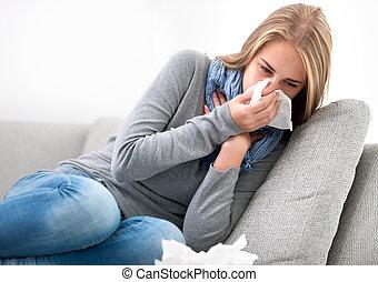 przeziębienie, kobieta, młody, posiadanie