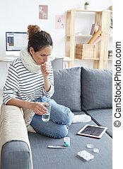 przeziębienie, kobieta, posiadanie