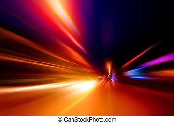 przyśpieszenie, ruch, szybkość, droga, noc