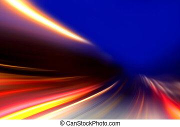przyśpieszenie, szybkość, ruch, na, noc, droga