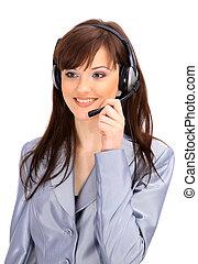 przy headset, kobieta, czuć się, could, portier, office;