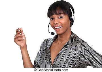 przy headset, kobieta, telefon, pióro, dzierżawa
