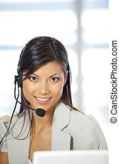 przy headset, sekretarka, szczęśliwy, portret