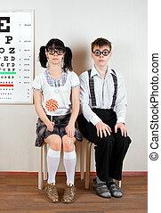 przy okularze, biuro, doktor, dwa, osoba