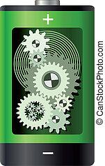 przybory, bateria, abstrakcyjny, -, koła, wnętrze
