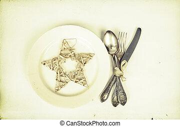 przybory, boże narodzenie, stół, srebro gwiazda