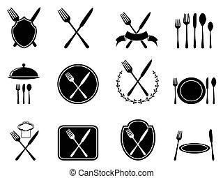 przybory, komplet, jedzenie, ikony