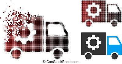 przybory, wóz, halftone, doręczenie, znikając, narzędzia, pixel, ikona