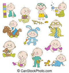 przybycie, chłopiec, komplet, doodle, -, projektować, przelotny deszcz, niemowlę, wektor, album na wycinki, bilety, albo
