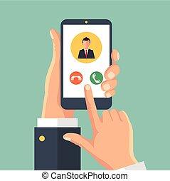 przybycie, ekran, smartphone, rozmowa telefoniczna