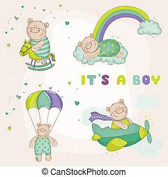 przybycie, komplet, -, niedźwiedź, przelotny deszcz, wektor, niemowlę, albo, karta