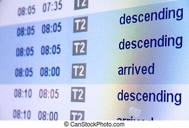 przybycie, lotnisko, lot, deska