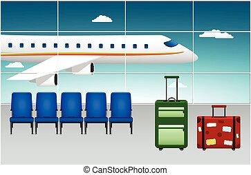 przybycie, lotnisko, terminal., flight.