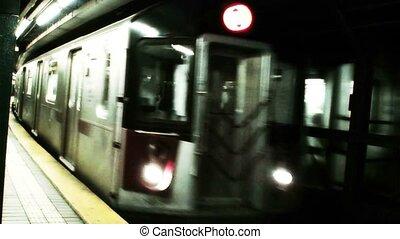 przybycie, pociąg, york, nowy, (1016), tunel