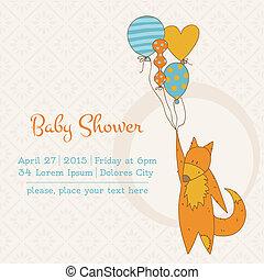 przybycie, tekst, albo, przelotny deszcz, wektor, miejsce, dziewczyna niemowlęcia, twój, karta