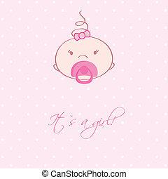 przybycie, zawiadomienie, card., rocznik wina, dziewczyna niemowlęcia
