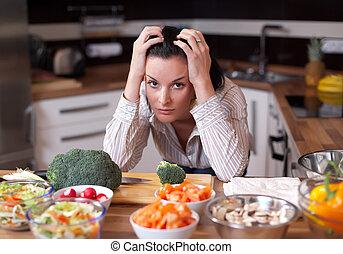 przygnębiony, kobieta, kuchnia, smutny