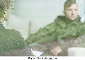przygnębiony, wojskowy, człowiek