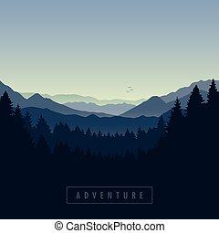 przygoda, błękitny, krajobraz, góra, las, natura