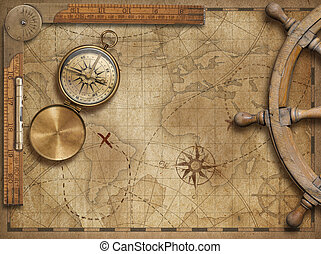 przygoda, i, badać, pojęcie, nieruchome życie, z, stary, morski, światowa mapa