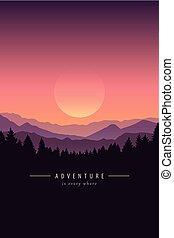przygoda, purpurowy, góra, tło, krajobraz