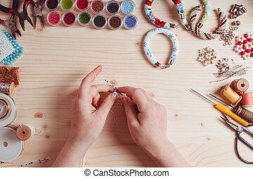 przygotowanie, beading, handmade