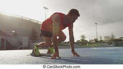 przygotowując, bok, atleta, stadion, prospekt, kaukaski, ...