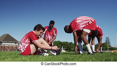 przygotowując, gracze, rugby, trening
