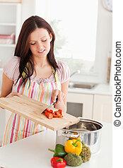 przygotowując, kobieta, jadło