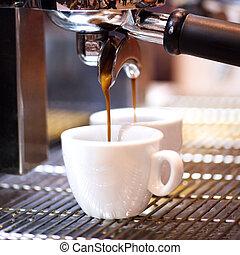 przygotowuje, kawa, jego, espresso, sho