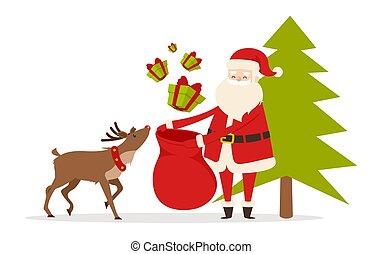 przygotowywać, renifer, pomoce, święty, gifts., boże narodzenie