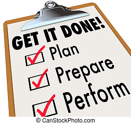 przygotowywać, zdobywać, sprawować, checklist, to, clipboard, zrobiony, plan