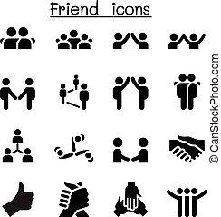 &, przyjaciel, związek, ikony