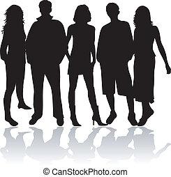 przyjaciele, czarnoskóry, -, sihouettes
