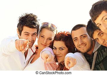 przyjaciele, młody, student, turecki